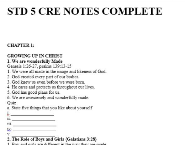 Class 5 CRE class notes