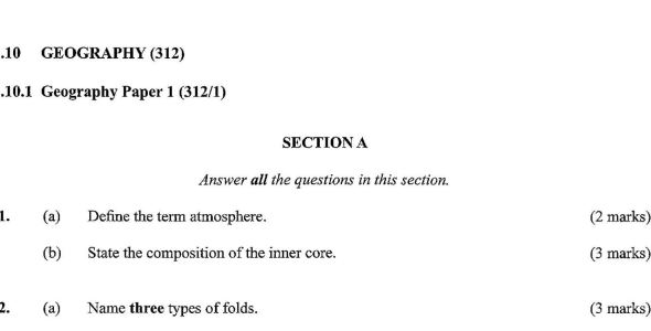 KCSE Geography Paper 1, 2018 with Marking Scheme (Answers)