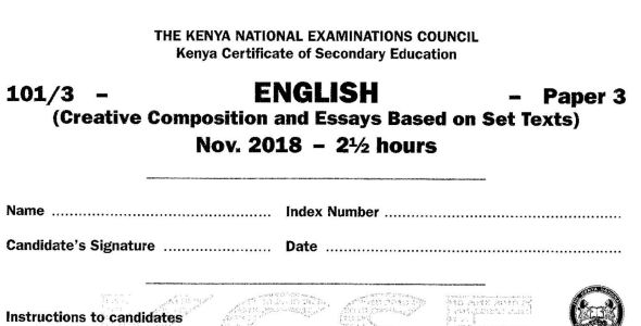 KCSE English Paper 3, 2018 with KNEC Marking Scheme (Answers)