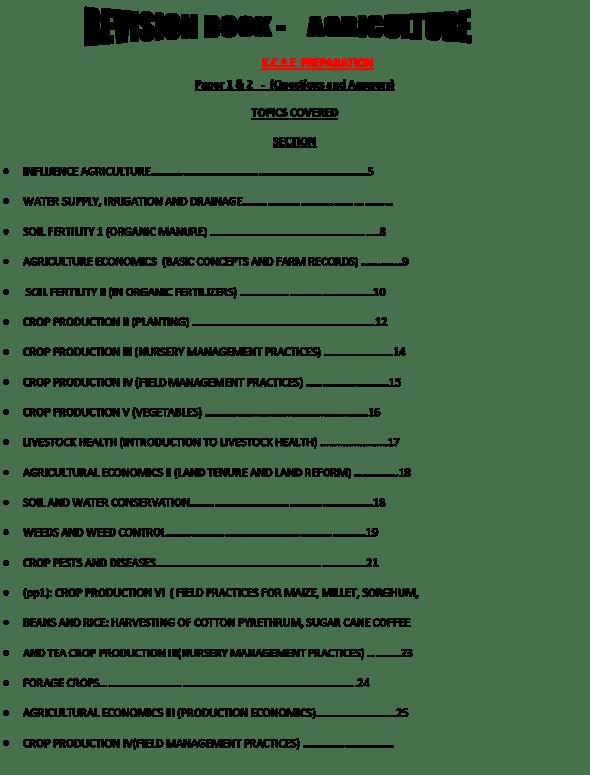 Agriculture revision book (K.C.S.E Preparation)