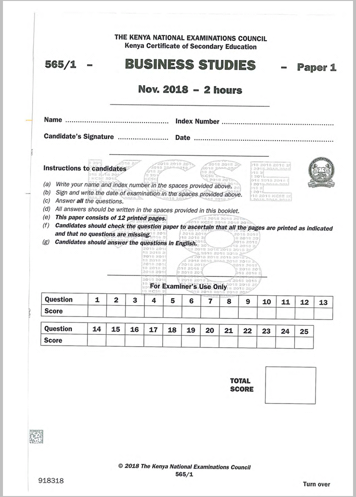 KNEC KCSE 2018 Business Studies Paper 1and 2 combined with Answers -  Muthurwa Marketplace