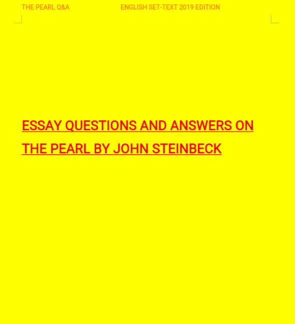 Question and Answers Guide to the Pearl