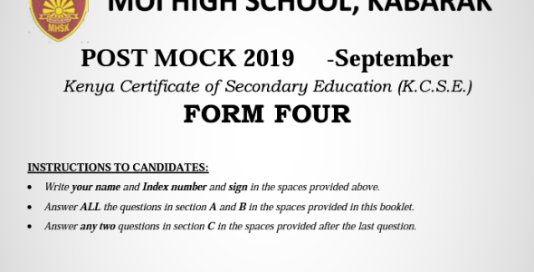 Kabarak Post Mock 2019 Agriculture Paper 1 and 2 with Marking Schemes