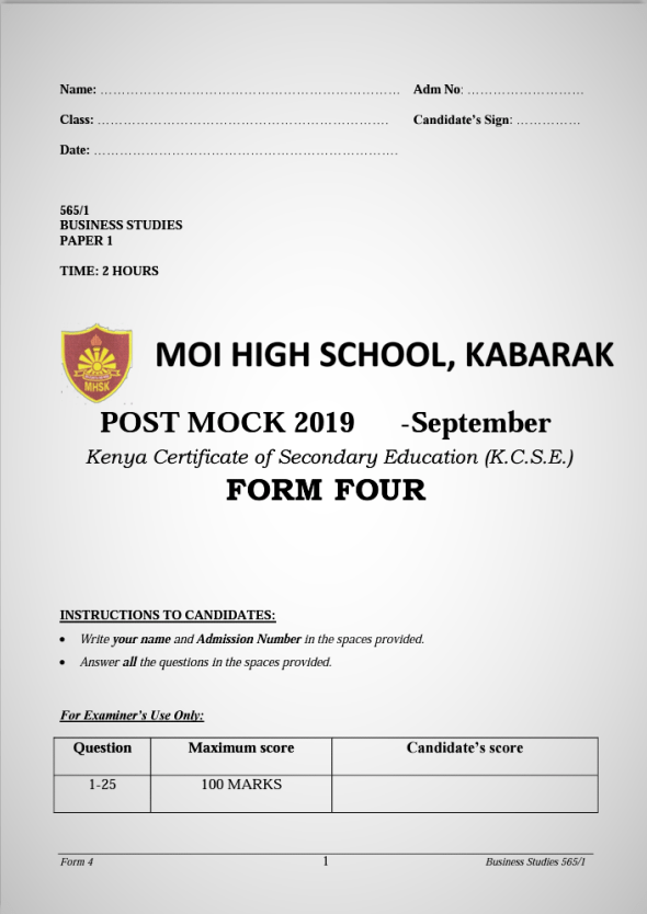 Kabarak Post Mock 2019 Business Studies Paper 1 and 2 Combined with Marking Schemes