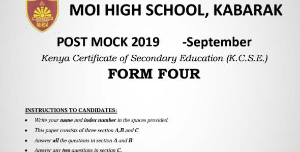 Kabarak Post-Mock 2019 Home Science Paper 1, 2 and 3 Combined with Marking Schemes