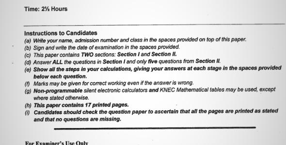 Maranda High School Post Mock Form 4 Mathematics Paper 2