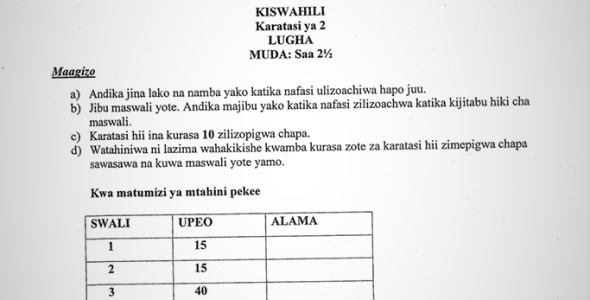Maranda High School Post-Mock Form 4 Kiswahili Paper 2 ( September 2019)