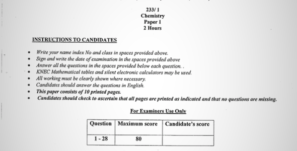 Maranda High School Post-Mock Form 4 Chemistry Paper 1 (September, 2019)