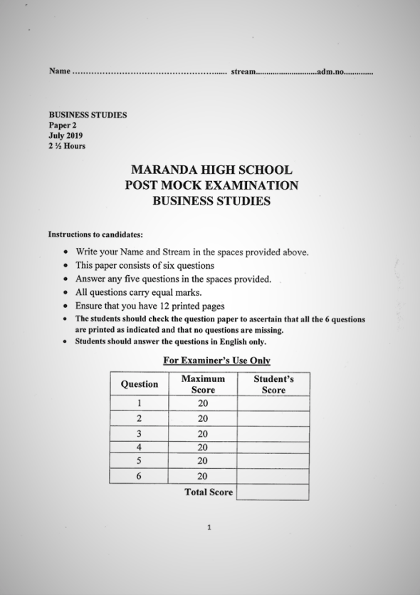 Maranda High School Form 4 Business Paper 2 (July, 2019)