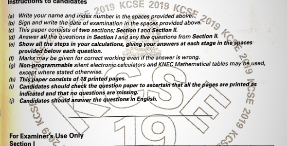 KCSE 2019 Mathematics Paper 1