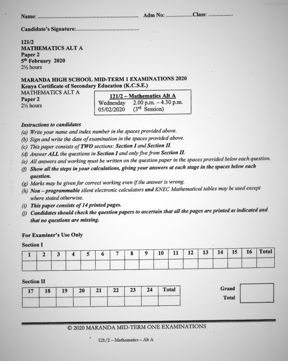 Maranda High School Mathematics Paper 1 Mid-Term 1 Form 4 2020 Past Paper