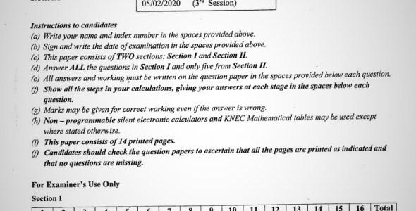 Maranda High School Mathematics Paper 2 Mid-Term 1 Form 4 2020 Past Paper