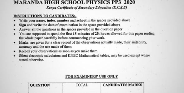 Maranda High School Physics Paper 3 Mid-Term 1 Form 4 2020 Past Paper
