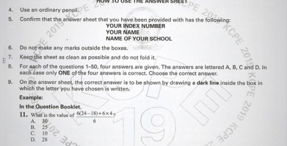2019 KCPE KNEC Mathematics Questions with (Marking Scheme) Past Paper.