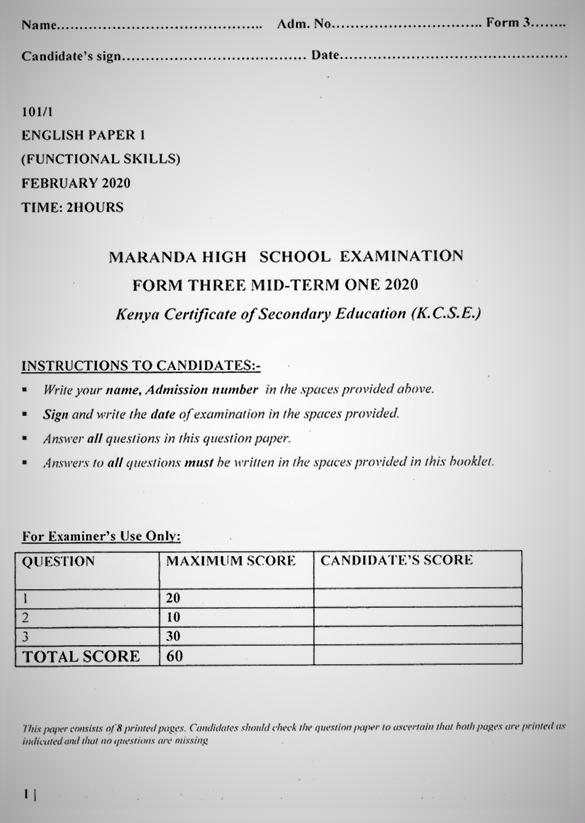 Maranda English Form 3 Paper 1 Mid-Term 1