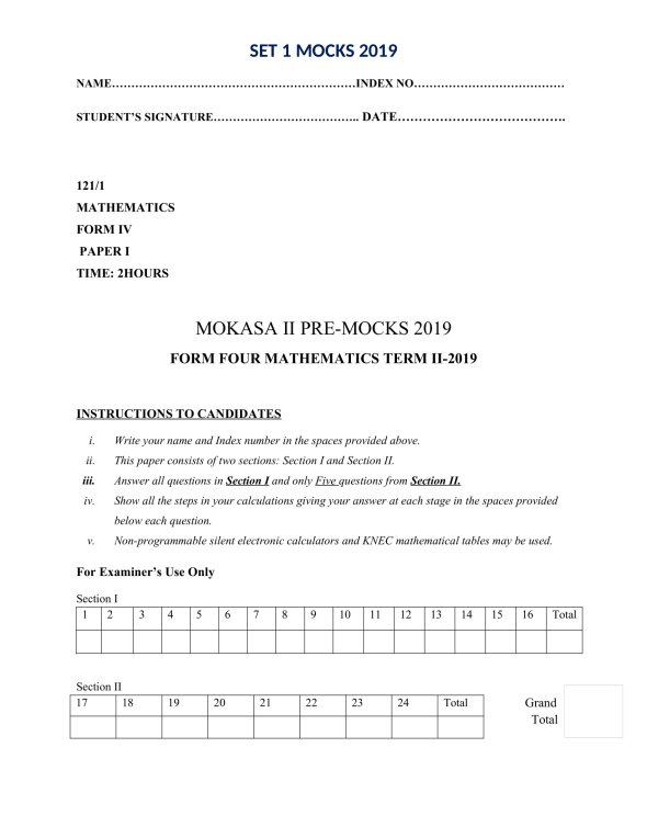 Mathematics Paper 1 Mokasa Pre-Mock 2019