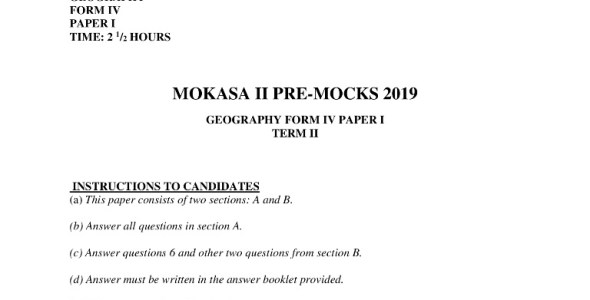 Geography Paper 1 Mokasa Pre-Mock 2019 (with answers)
