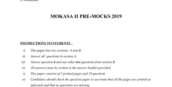 Geography Paper 2 Mokasa Pre-Mock 2019 (with answers)