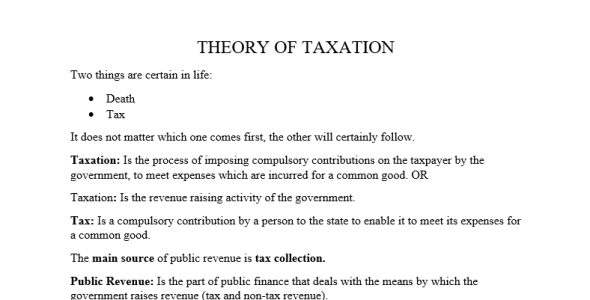 Introduction to taxation (theory of taxation notes)