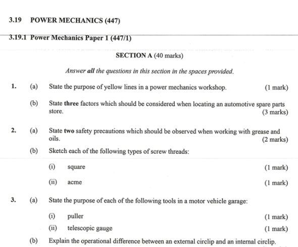 KNEC KCSE 2019 Power Mechanics Paper 1 (Past Paper with Marking Scheme)