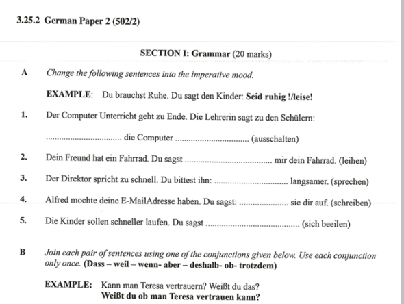 KNEC KCSE 2019 German Paper 2 (Past Paper with Marking Scheme)