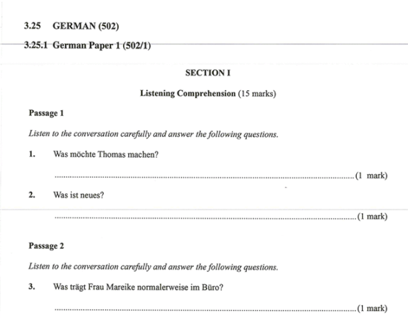 KNEC KCSE 2019 German Paper 1 (Past Paper with Marking Scheme)