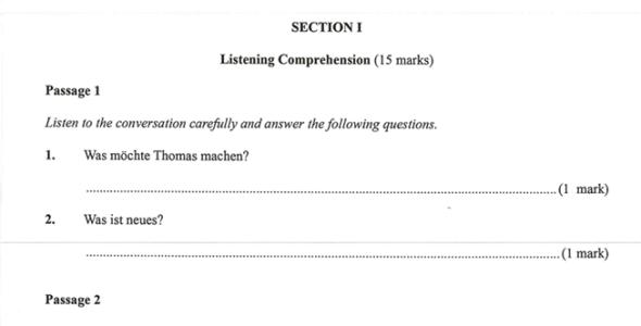 KNEC KCSE 2019 German Paper 1 (Past Paper with Marking Scheme)