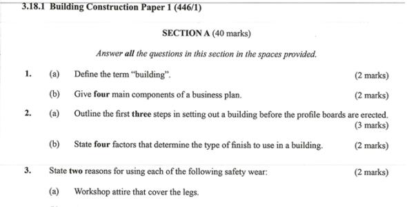 KNEC KCSE 2019 Building Construction Paper 1 (Past Paper with Marking Scheme)