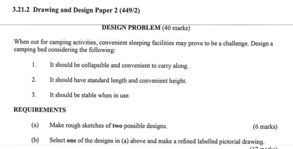 KNEC KCSE 2019 Drawing and Design Paper 2 (Past Paper with Marking Scheme)