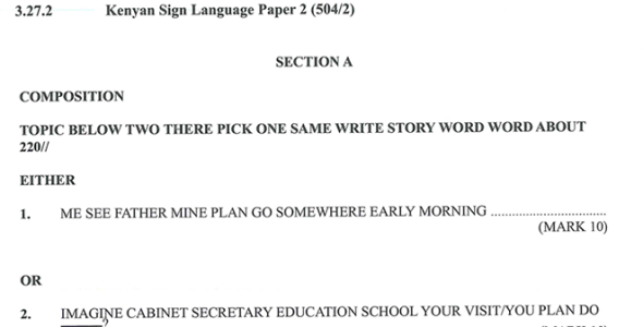 KNEC KCSE 2019 Kenyan Sign Language Paper 2 (Past Paper with Marking Scheme)