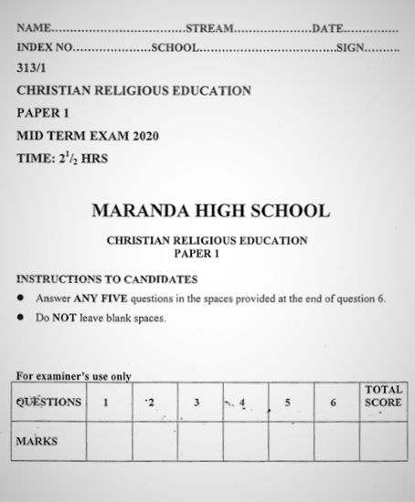 Maranda Pre-Mock Christian Religious Education Form 4 Paper 1 (2020 Past Paper)