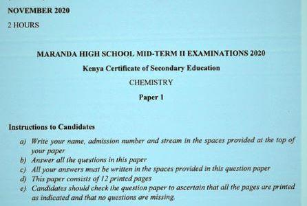 Maranda Pre-Mock Chemistry Form 4 Paper 1 (2020 Past Paper)