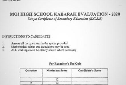 Moi High School Kabarak Mock Chemistry Paper 2 Mock 2020 Past Paper
