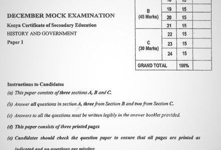 Moi High School Kabarak History & Government Paper 1 Mock 2020 Past Paper