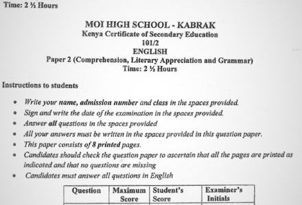 Moi High School Kabarak English Paper 2 Mock 2020 Past Paper