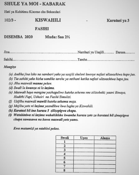 Moi High School Kabarak Kiswahili Paper 3 Mock 2020 Past Paper