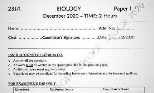 Maranda Mock Biology Paper 1 2020 ( With Marking Scheme)