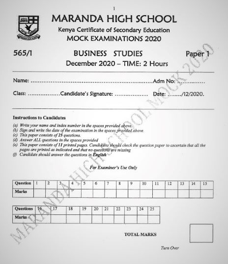 Maranda Mock Business Studies Paper 1 2020 (With Marking Scheme)