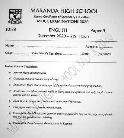 Maranda Mock English Paper 3 2020 (With Marking Scheme)