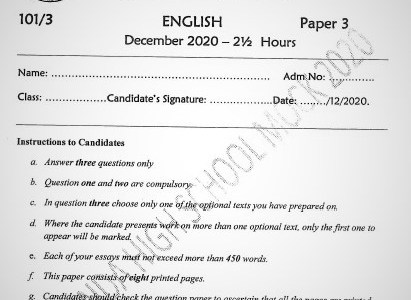 Maranda Mock English Paper 3 2020 (With Marking Scheme)