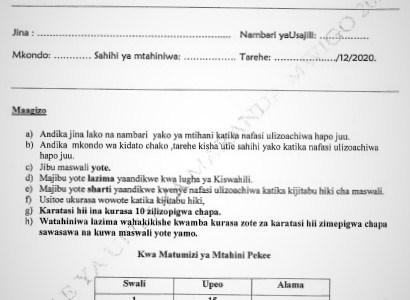 Maranda Mock Kiswahili Paper 2 2020 (With Marking Scheme)