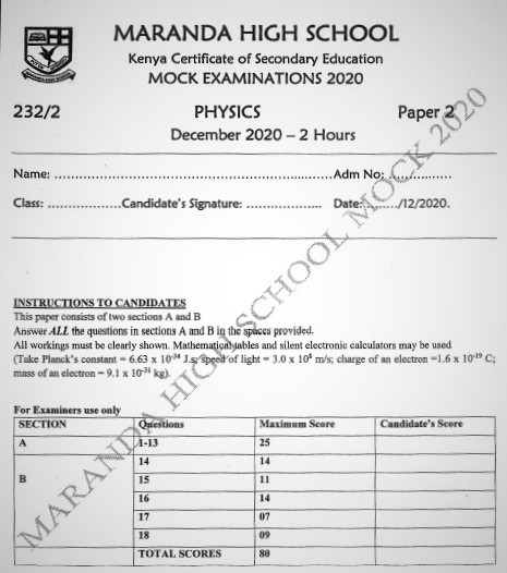 Maranda Mock Physics Paper 2 2020 (With Marking Scheme)