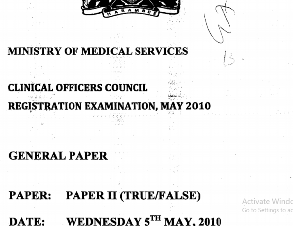 Clinical Officer Council (COC) Registration Exam Past Papers
