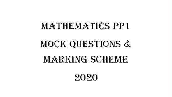 Maseno Mathematics PP1 Questions & Marking Scheme