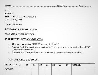 Maranda Post-Mock History & Government Paper 2 2021 (With Marking Scheme)