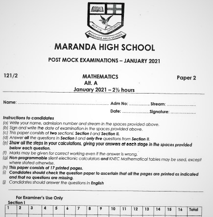 Maranda Post-Mock Mathematics Paper 2 2021 (With Marking Scheme)