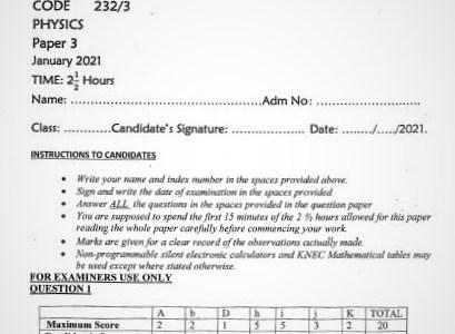 Maranda Post-Mock Physics Paper 3 2021 (With Marking Scheme)