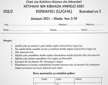 Maranda & Kisii High Joint Post-Mock Kiswahili Paper 2 2021 (With Marking Scheme)
