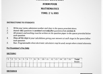 Moi Kabarak Post-Mock Mathematics Paper 2021 (With Marking Scheme)