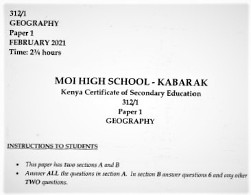 Moi Kabarak Post-Mock Geography Paper 1 2021 (Without Marking Scheme)
